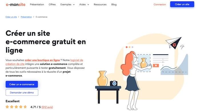 e-monsite,, plateforme de création de site e-commerce