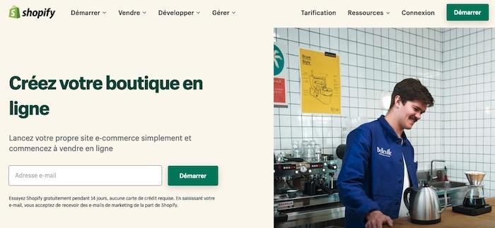 Shopify, plateforme pour créer un site e-commerce gratuit