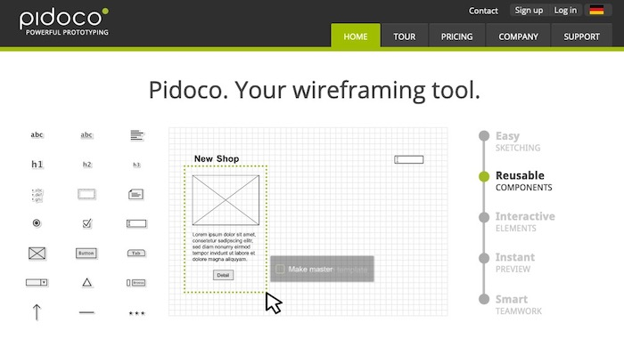 Pidoco outil wireframe application