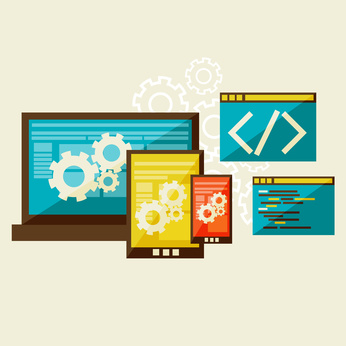 Flat modern illustration, web design development,