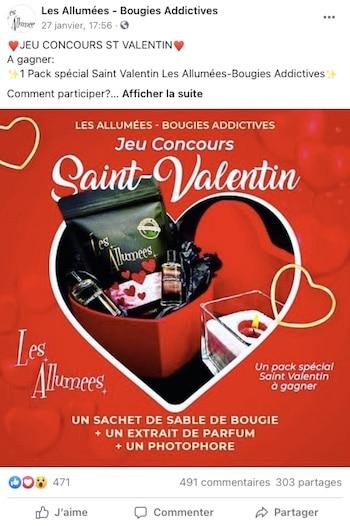 Jeu Concours Facebook St Valentin
