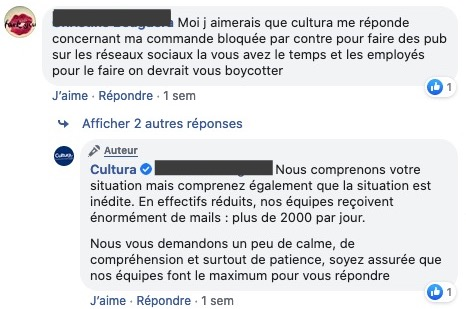 gestion commentaires négatifs facebook par Cultura