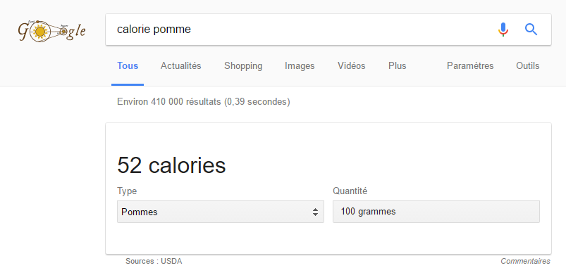 Exemple Google Answer Box