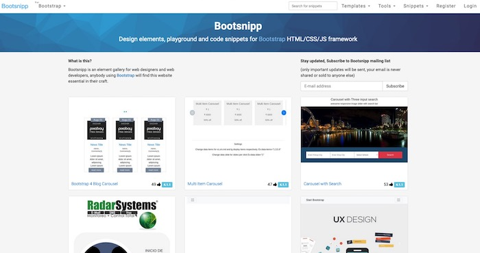 Bootsnip snippets Bootstrap