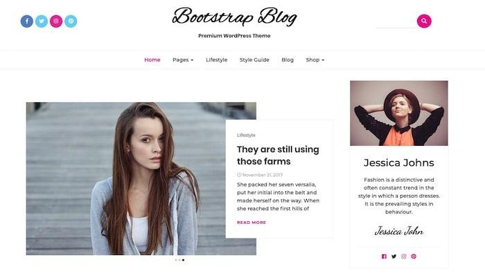 Bootstrap Blog template blog design gratuit