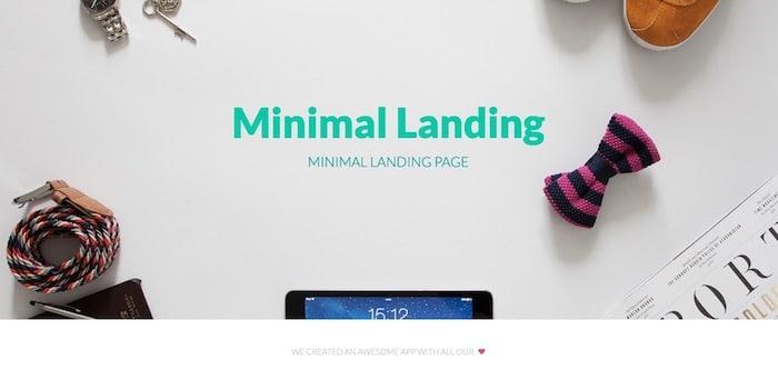 Minimal Landing template Bootstrap gratuit minimaliste pour application
