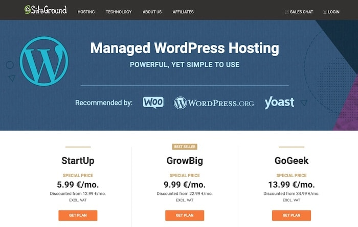 SiteGround hébergeur spécialisé WordPress
