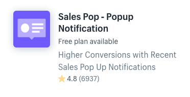 Sales Pop notifications pop up Shopify