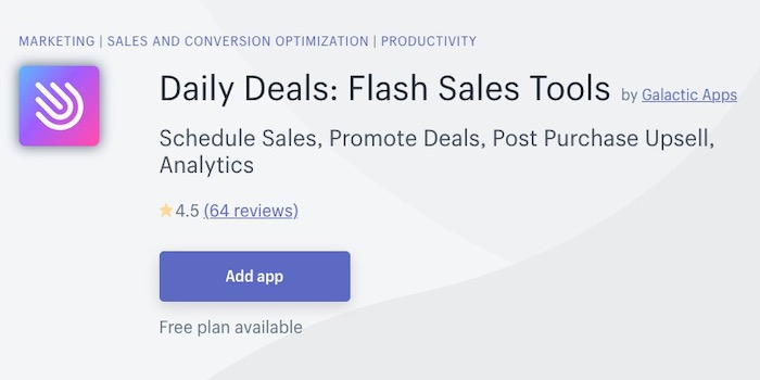 Daily Deals plugin Shopify