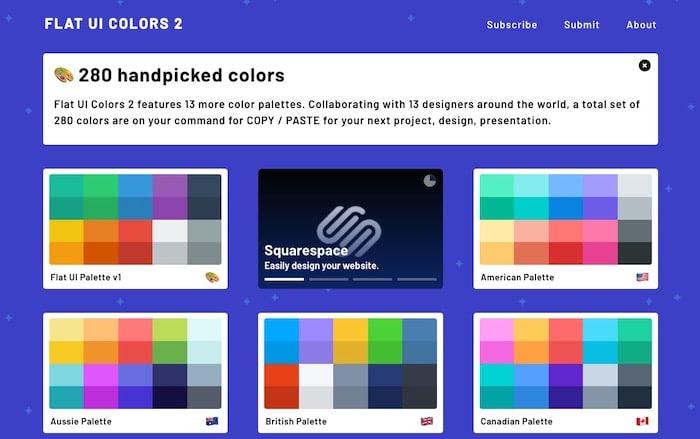 Flat UI Colors, palette de couleurs