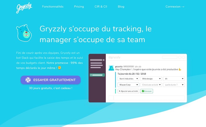 Gryzzly chatbot tilme tracker Slack