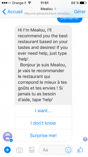 Mealou, chatbot pour trouver un restaurant