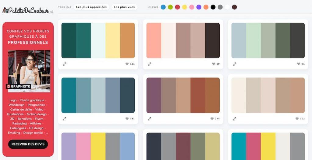 Palettedecouleur.net outil gratuit de sélection de palette de couleur