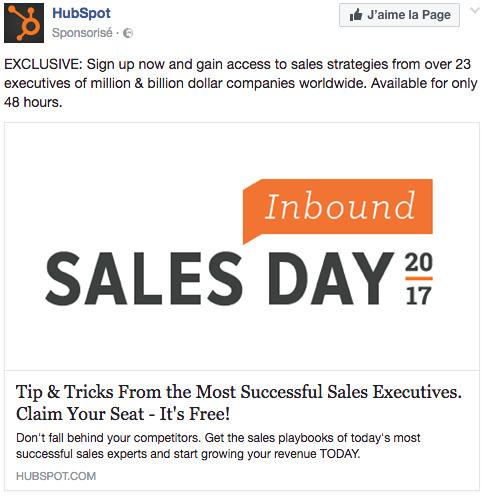 Publicité facebook hubspot