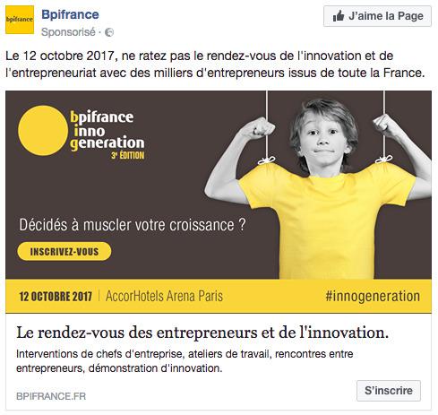 Publicité facebook bpi france
