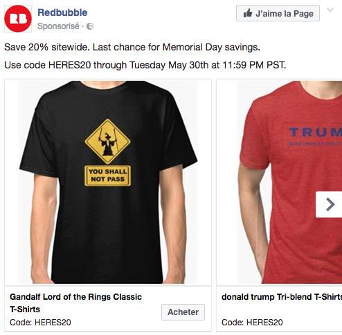 Publicité facebook redbubble