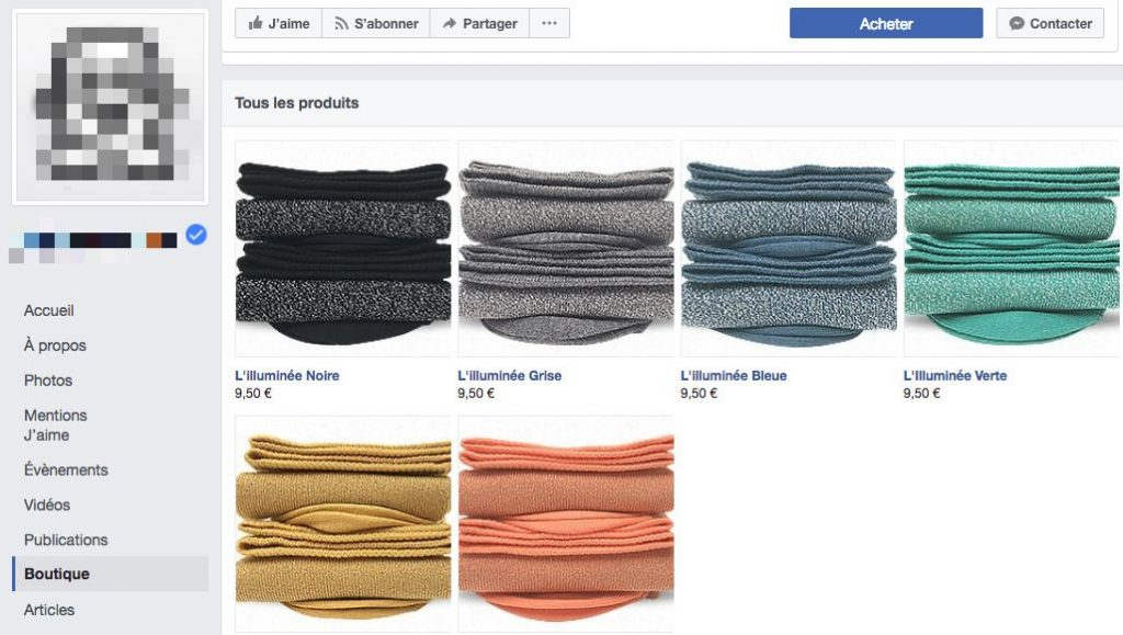 Boutique sur une page facebook