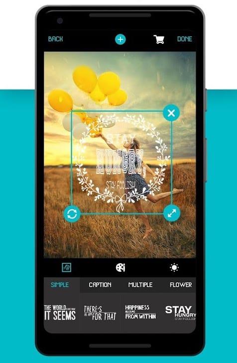 Text Sawg, application android de mise en forme de texte sur visuel, parfait pour Instagram