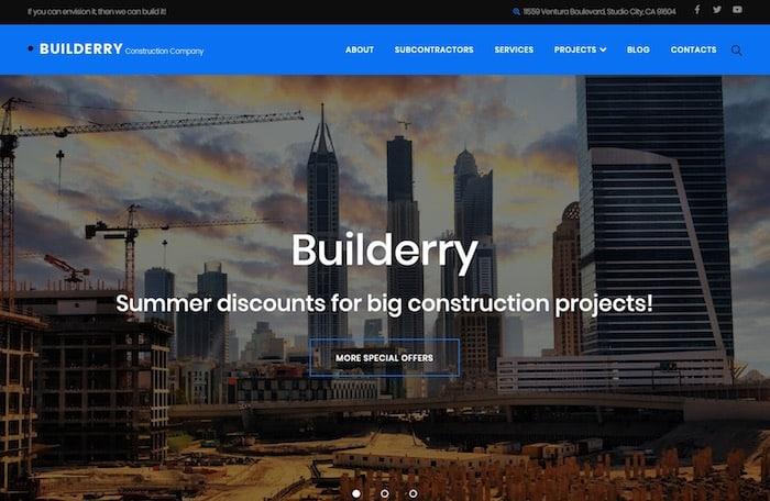 Builderry thème bâtiment site wordpress
