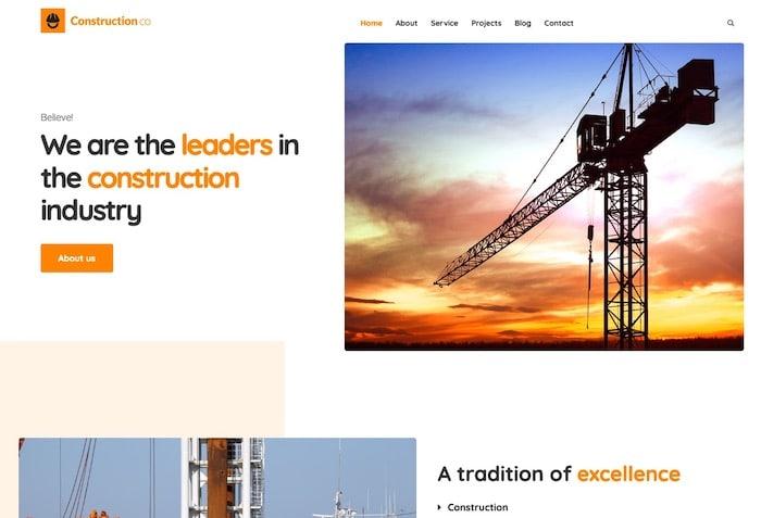 Construction business thème wordpress