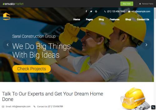 theme wordpress pour le secteur du bâtiment