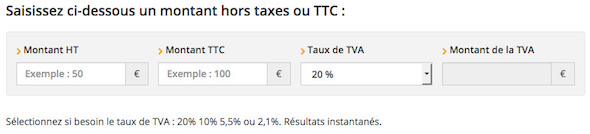 calculateur de taux de TVA
