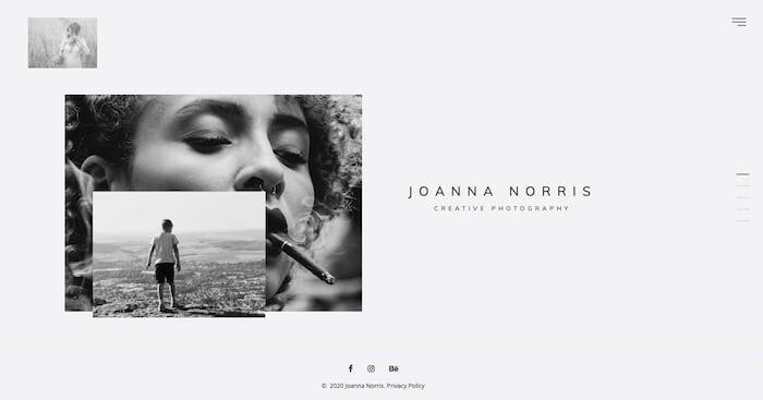 Joanna Norris thème WordPress site photographie