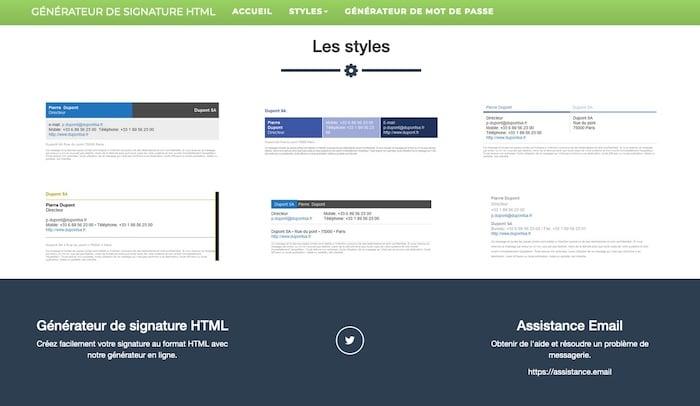 Assistance email outil de création de signature mail en HTML