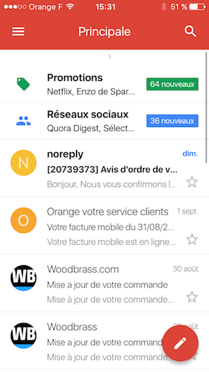Bouton d'action flottant sur mobile