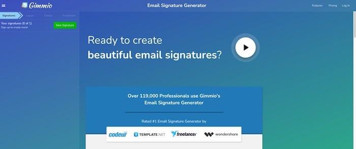 Gimm.io outil de création de signature mail en HTML