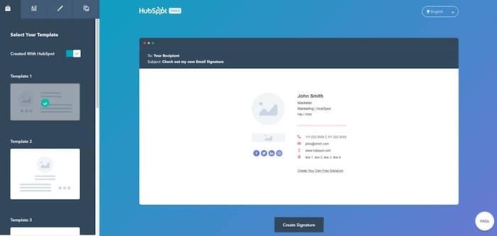 Hubspot outil de création de signature mail en HTML