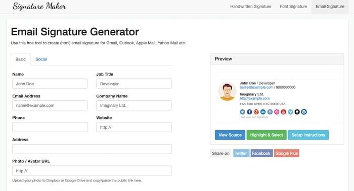 Signature Maker outil de création de signature mail en HTML
