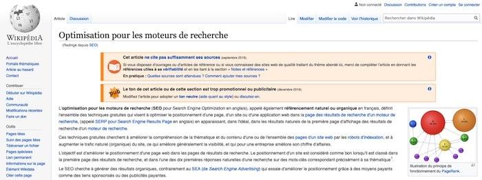 SEO longue traine mots-clés Wikipédia