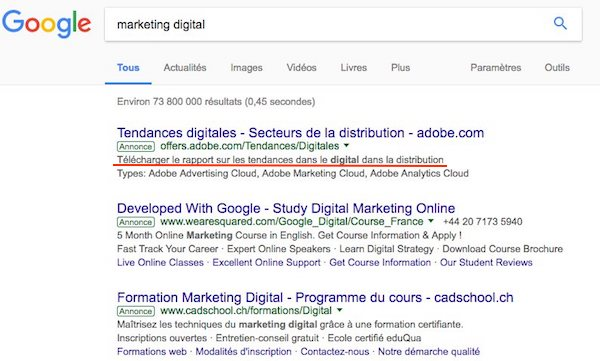 Call to action annonce adwords