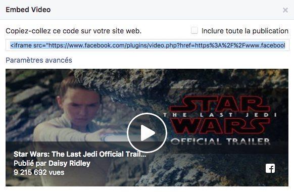 Intégrer une publication facebook