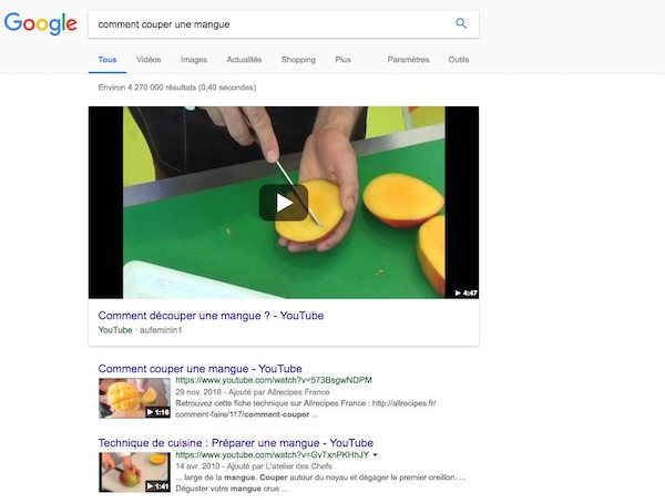 Featured snippet vidéo