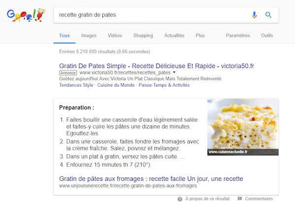 featured snippet liste numérotée