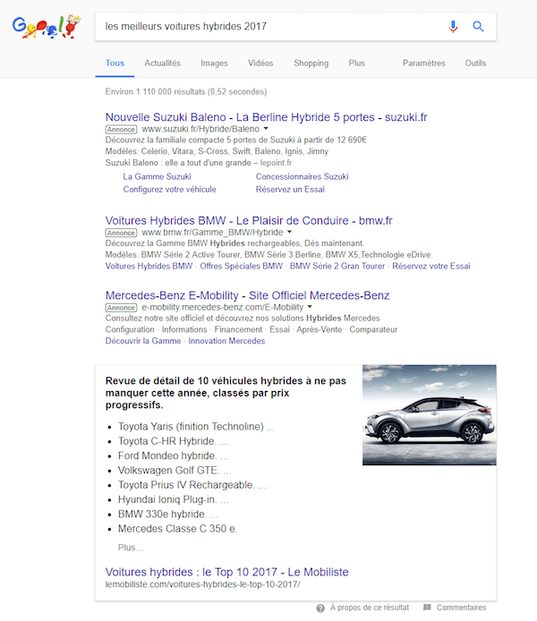 featured snippet liste à puces