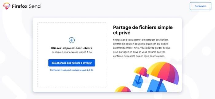 Firefox Send transfert fichiers