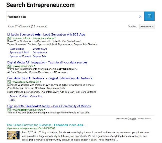 exemple de résultats google custom search