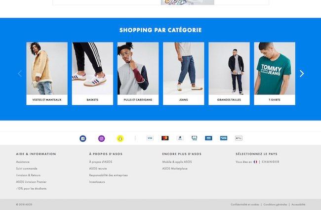 pied de page e-commerce