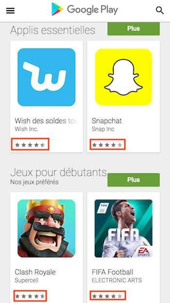 évaluations sur les app stores