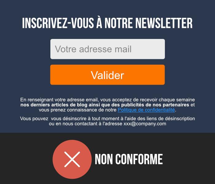 formulaire mail non conforme rgpd