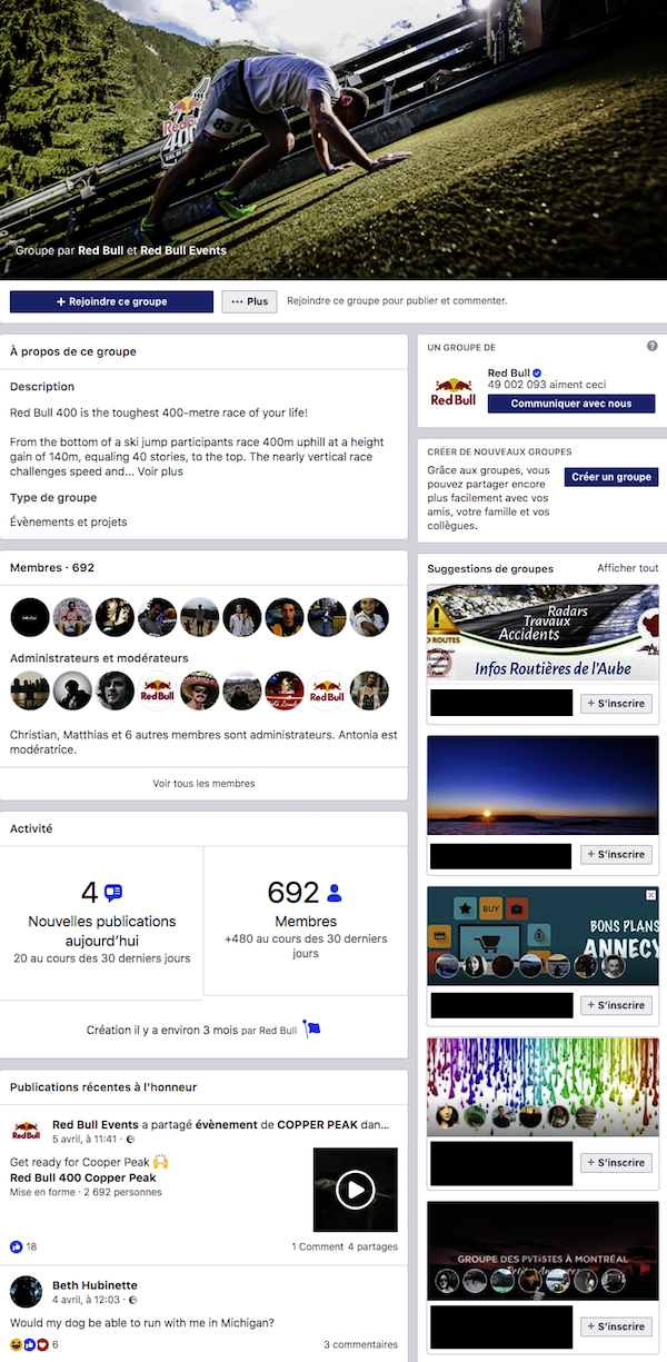 Groupe Facebook - Exemple Red Bull