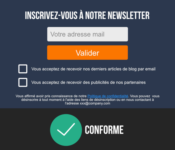inscription newsletter conforme rgpd