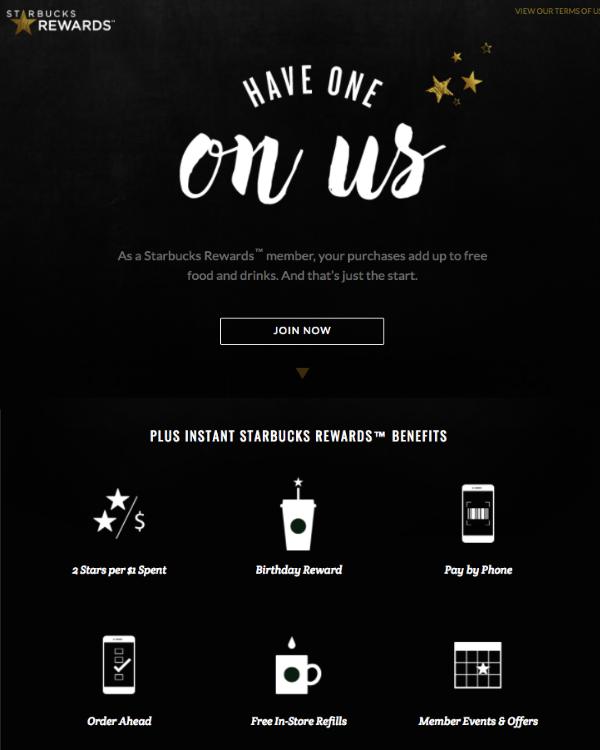Programme de fidélité de Starbuck - Page dédiée