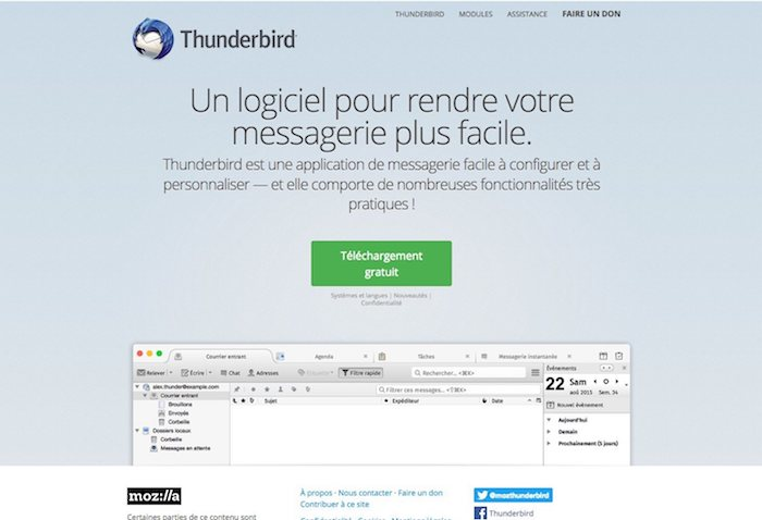 client de messagerie thunderbird