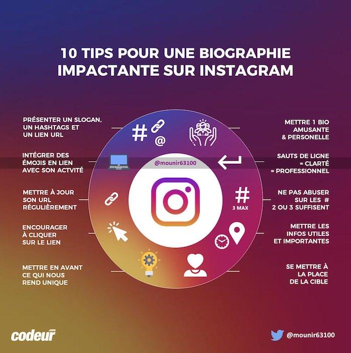 infographie : réussir sa bio sur instagram