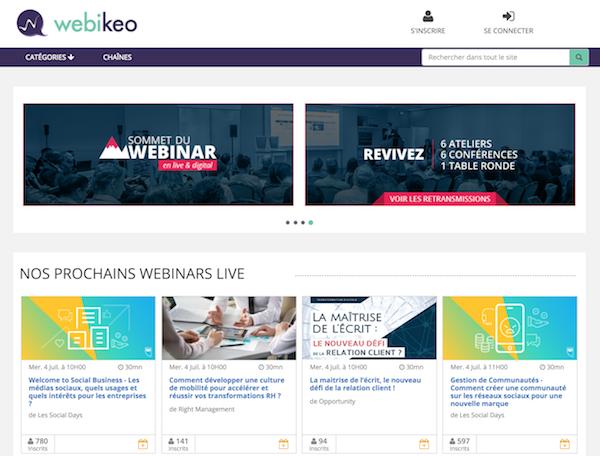 Créer Webinaire gratuit Webikeo