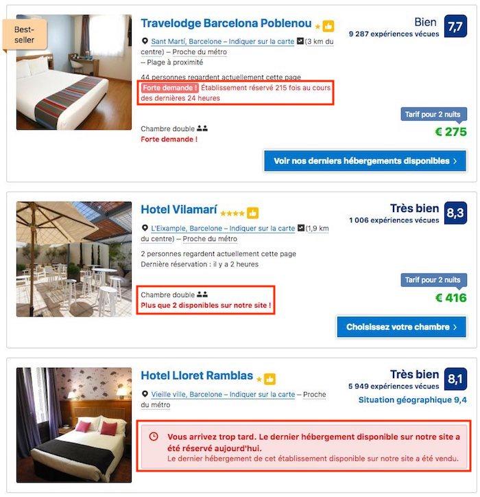 urgence sur booking.com